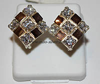 Серебряные сережки с цирконом Камила, фото 1