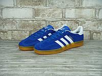 Кроссовки в стиле Adidas Gazelle Indoor Gum Light Blue/White мужские