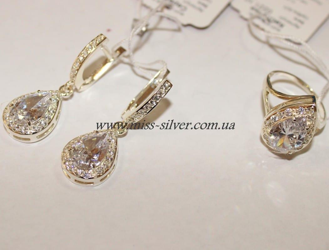 Комплект серебряных украшений Капелька