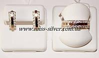 Комплект серебряный с белыми фианитами и золотом Роззи
