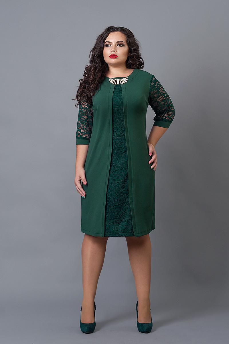 Ошатне плаття великих розмірів темно-зеленого кольору