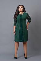 Ошатне плаття великих розмірів темно-зеленого кольору, фото 1