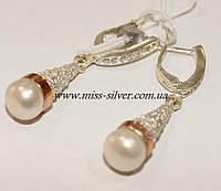 Серьги серебряные с жемчугом, фианитами и золотом Зоряна