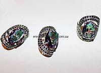 Комплект серебряный с мистическим топазом Шикк