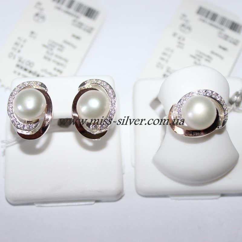Комплект серебряный с золотом и белым жемчугом Комета - Miss Silver –  магазин ювелирных украшений из 6ee9a26b364