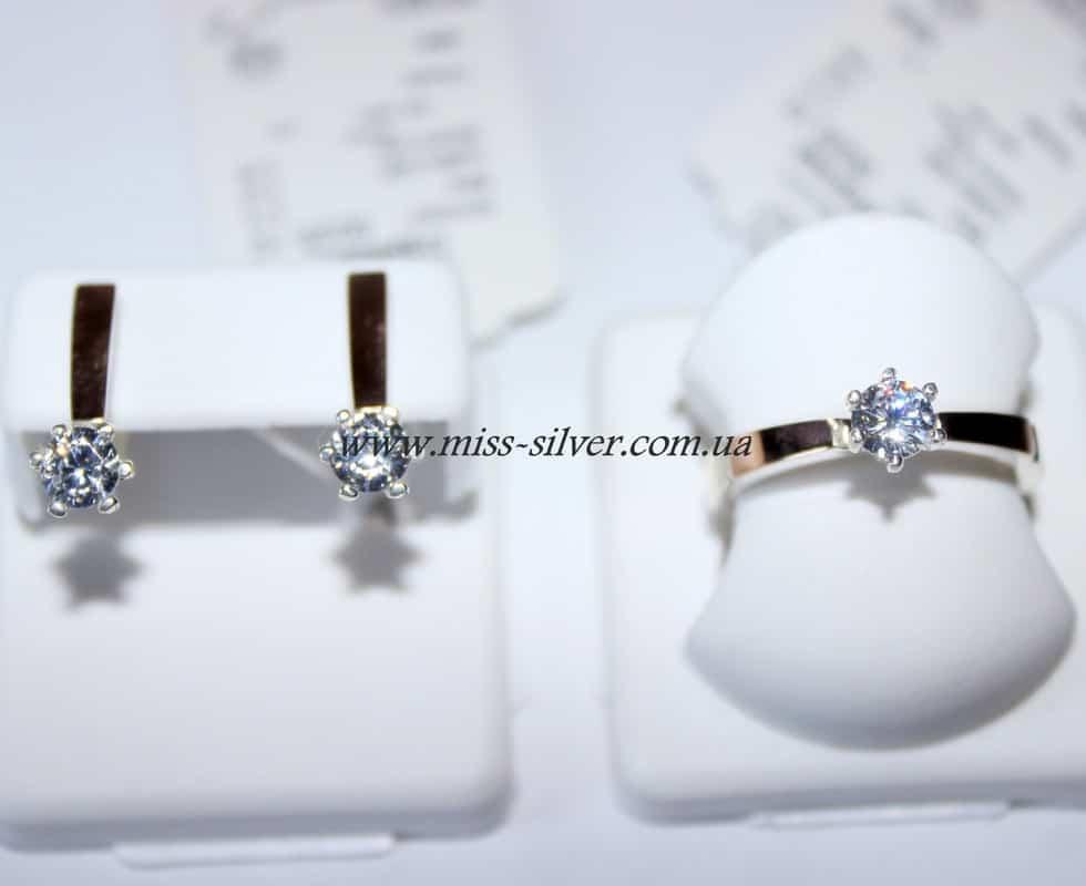 Комплект серебряный с белым фианитом Блеск