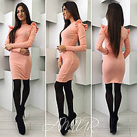 Модное персиковое трикотажное  платье с воланами на рукавах. Арт-9983/82
