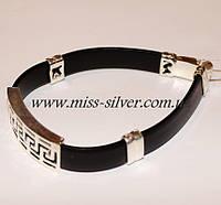 Каучуковый браслет с серебряными вставками VERSACE