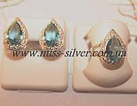 Комплект серебряный с голубым цирконием Капля - 2