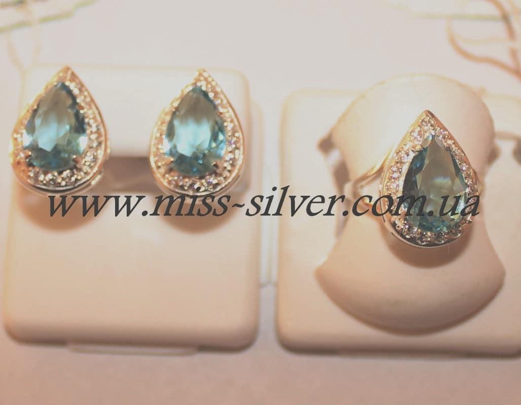Комплект серебряный с голубым цирконием Капля - 2 - Miss Silver – магазин  ювелирных украшений из 23a1a684e18
