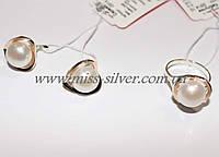 Серебряный набор с жемчугом и золотыми вставками Натали