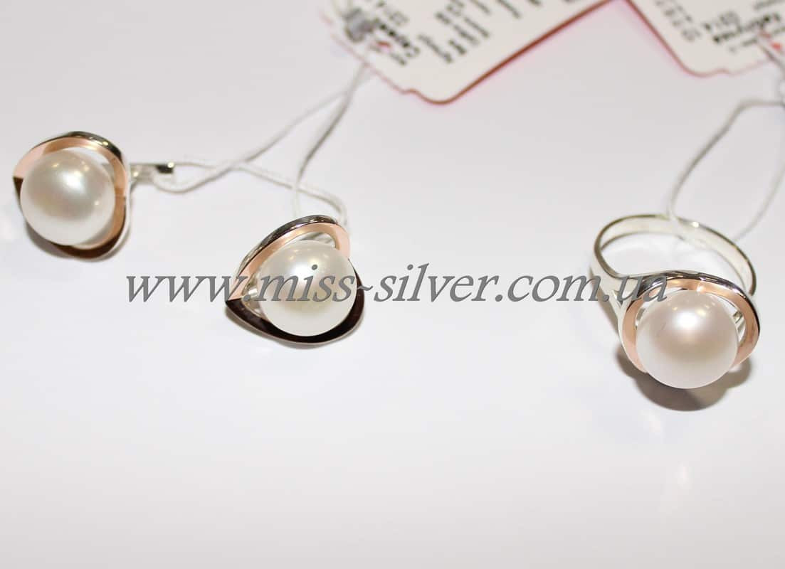 Серебряный набор с жемчугом и золотыми вставками Натали - купить по ... e172f8612fd