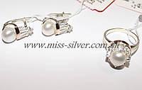 Комплект украшений серебряный с золотом и жемчугом Царевна