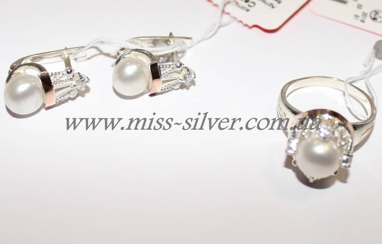 Ювелирный набор с золотом и белым жемчугом Царевна - Miss Silver – магазин  ювелирных украшений из 24fde0121b9