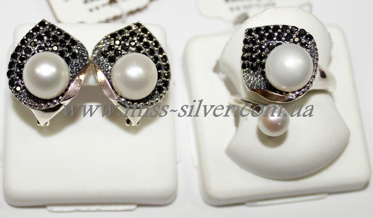 Набор из серебра с жемчугом и золотыми накладками Кувшинка - Miss Silver –  магазин ювелирных украшений 274d4feff4c