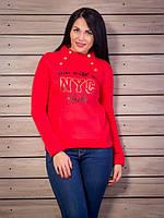 Батник женский на флисе NYC p.44-46 цвет красный VM1706-1