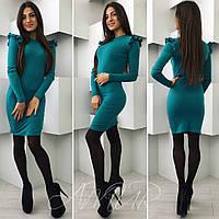 Модное бирюзовое  трикотажное  платье с воланами на рукавах. Арт-9983/82