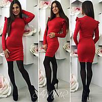 Модное красное  трикотажное  платье с воланами на рукавах. Арт-9983/82