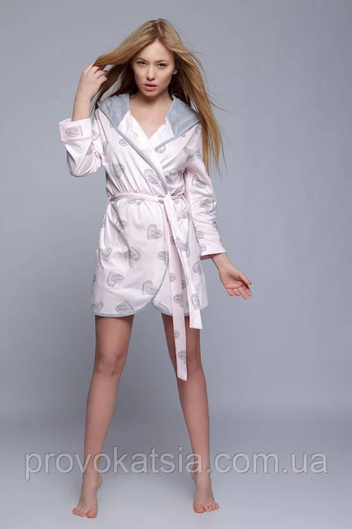 Милый женский розовый халат с сердечками Szlafrok Elisa Sensis