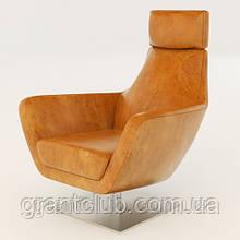 Современное кожаное вращающееся кресло на хромированной базе BAY фабрика ALBERTA (Италия)