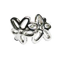 Кольцо Два цветка под серебро