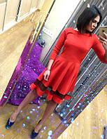 Стильное красное  платье со вставкой из фатина. Арт-9985/82