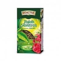 """Чай зеленый заварной с кусочками ягод и фруктов (крупный лист) """"Herbata Zielona """" 100 г малина"""