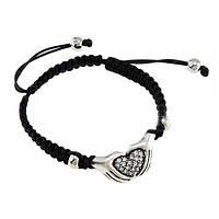 Женский браслет YA.VA Handmade бижутерия в стиле Шамбала Сердце в руках B0250256 чёрный, регулируемый размер