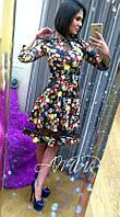 Стильное  платье со вставкой из фатина, цветочный принт. Арт-9985/82