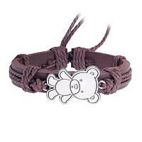 Кожаный браслет на завязках Мишка коричневый
