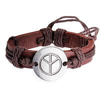Кожаный браслет на завязках Peace коричневый