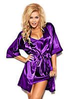 Атласный халат с пеньюаром фиолетовый