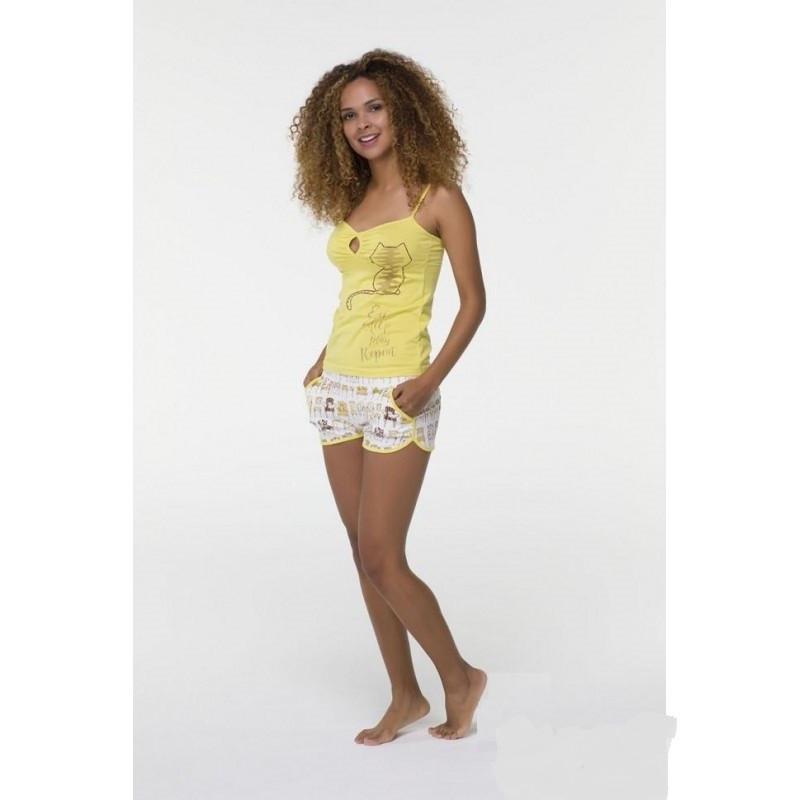 Літня жіноча піжама із жовтою майкою та короткими шортами HAYS 6509
