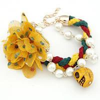 Браслет Цветок и Череп B002338 жёлтый
