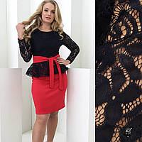 Платье гипюр большего размера с завязкой, фото 1