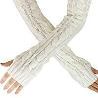 Длинные белые женские митенки 50 см, очень теплые перчатки без пальцев