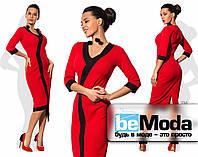Эффектное женское платье с ассиметрией по краю низа и контрастными вставками красное