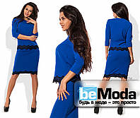 Оригинальный женский костюм из кофты и юбки из креп-дайвинга с отделкой из французского кружева синий