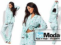 Удобный женский домашний костюм из кофты и брюк с оригинальным принтом  голубой