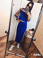 Стильный женский летний костюм юбка карандаш + топ