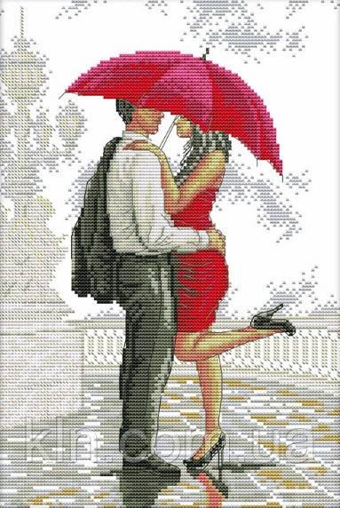 Вышивка крестиком Свидание под красным зонтом 27х37 см (арт. MK024)
