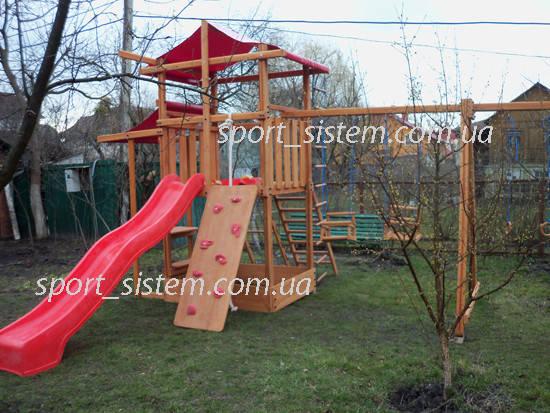 """Детский игровой комплекс """"Пикник"""" из дерева на детской площадке"""