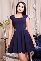 42,44,46,48,50 р Женский сарафан Гримм темно-синий платье короткое летнее батал с декольте на работу в офис
