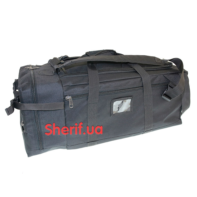 Военная сумка-рюкзак черная транспортировочная, 85л П5050