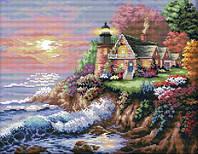 Вышивка крестиком набор Дом у моря 45х38 см (арт. MK026)