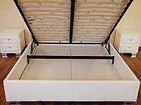 Кровать Олимп с подъемным механизмом с мягким изголовьем полуторная