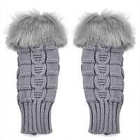 Короткие женские митенки с меховой отделкой (перчатки без пальцев)