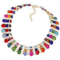Ожерелье с кристаллами Гортензия P002960 разноцветное
