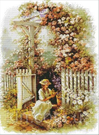 Вышивка крестиком Девушка в саду 42х53 см (арт. MK028)