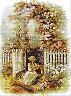 Вышивка крестиком Девушка в саду 43х55 см (арт. MK028)
